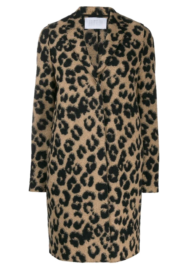 HARRIS WHARF Cocoon Wool Coat - Leopard Tan main image