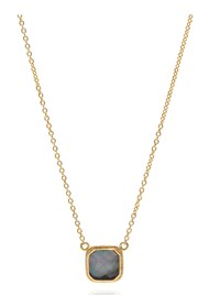ANNA BECK Dreamy Dusk Grey Quartz Cushion Necklace - Gold