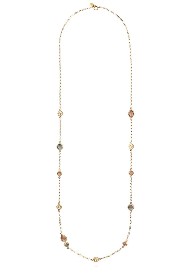 ANNA BECK Dreamy Dusk Grey & Pink Quartz Station Necklace - Gold main image