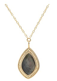 ANNA BECK Dreamy Dusk Grey Quartz Pendant Necklace - Gold