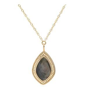 Dreamy Dusk Grey Quartz Pendant Necklace - Gold