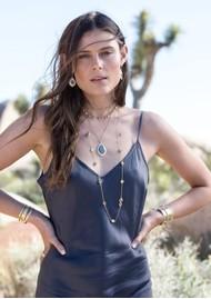 ANNA BECK Dreamy Dusk Grey Quartz Double Drop Necklace - Gold