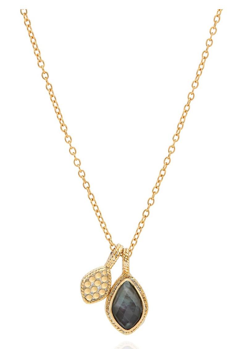 ANNA BECK Dreamy Dusk Grey Quartz Double Drop Necklace - Gold main image