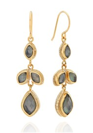 ANNA BECK Dreamy Dusk Grey Quartz Chandelier Earrings - Gold