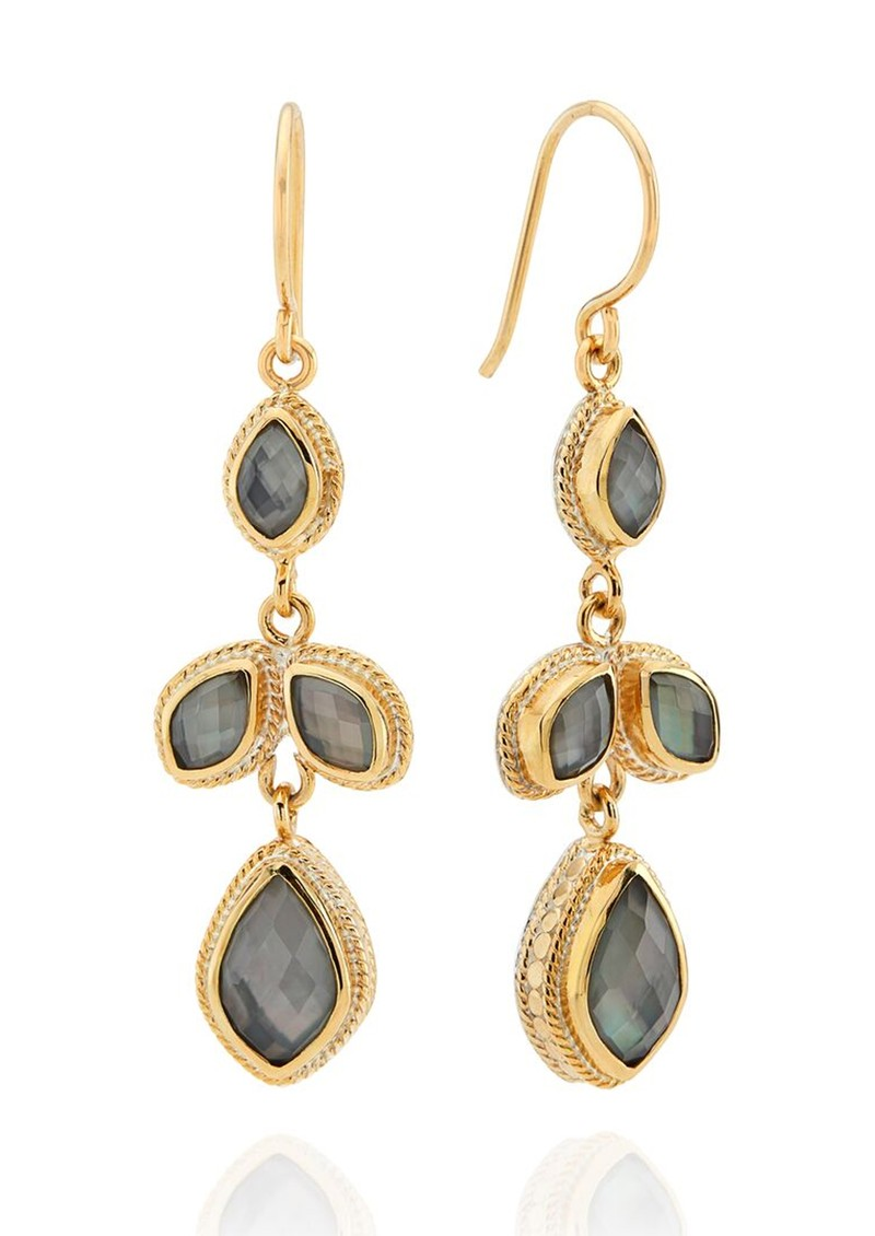 ANNA BECK Dreamy Dusk Grey Quartz Chandelier Earrings - Gold main image