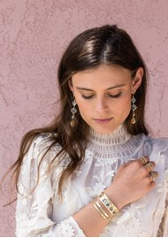ANNA BECK Dreamy Dusk Grey & Pink Quartz Multi Drop Earrings - Gold