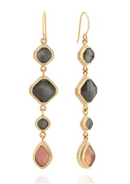 ANNA BECK Dreamy Dusk Grey & Pink Quartz Multi Drop Earrings - Gold