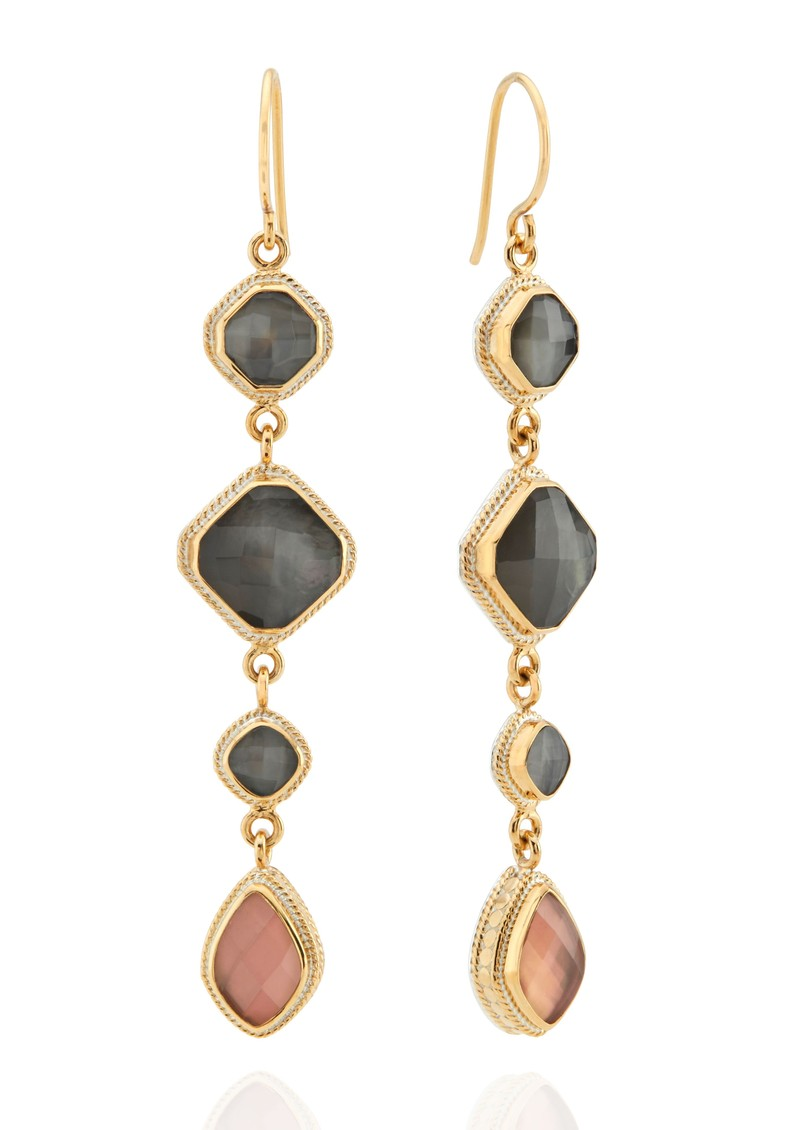 ANNA BECK Dreamy Dusk Grey & Pink Quartz Multi Drop Earrings - Gold main image