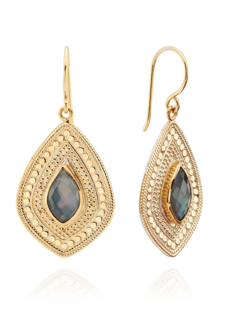 ANNA BECK Dreamy Dusk Grey Quartz Drop Earrings - Gold main image