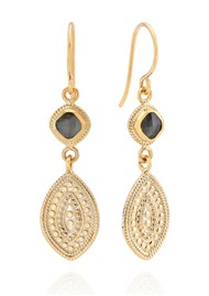 ANNA BECK Dreamy Dusk Grey Quartz Double Drop Earrings - Gold