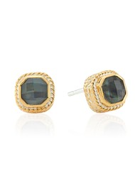 ANNA BECK Dreamy Dusk Grey Quartz Stud Earrings - Gold