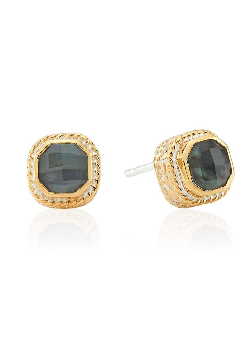 ANNA BECK Dreamy Dusk Grey Quartz Stud Earrings - Gold main image