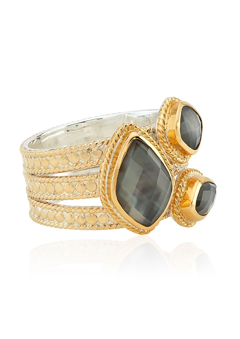 ANNA BECK Dreamy Dusk Grey Quartz Faux Stacking Ring - Gold main image