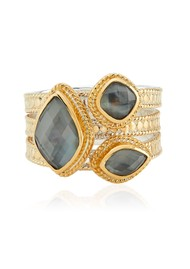ANNA BECK Dreamy Dusk Grey Quartz Faux Stacking Ring - Gold
