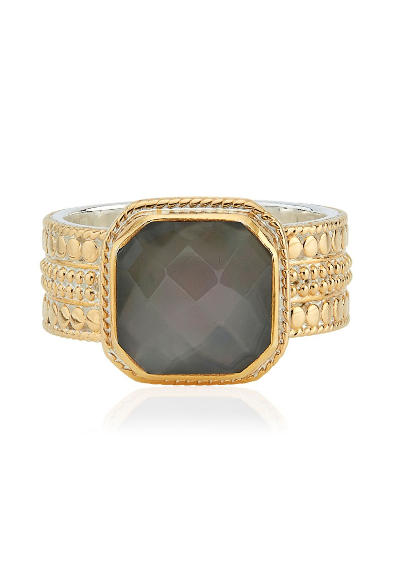 ANNA BECK Dreamy Dusk Grey Quartz Cushion Ring - Gold main image