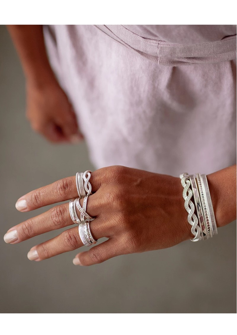 ANNA BECK Ribbed Stacking Ring - Silver main image