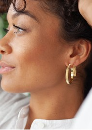 ANNA BECK Large Ribbed Hoop Earrings - Gold