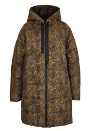ESSENTIEL ANTWERP Trainspotting Mini Cheetah Printed Hooded Coat - Combo1 Black