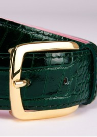 ESSENTIEL ANTWERP Triniti Croc-Effect Leather Belt - Bosforus Green