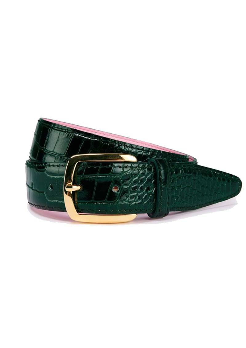ESSENTIEL ANTWERP Triniti Croc-Effect Leather Belt - Bosforus Green main image