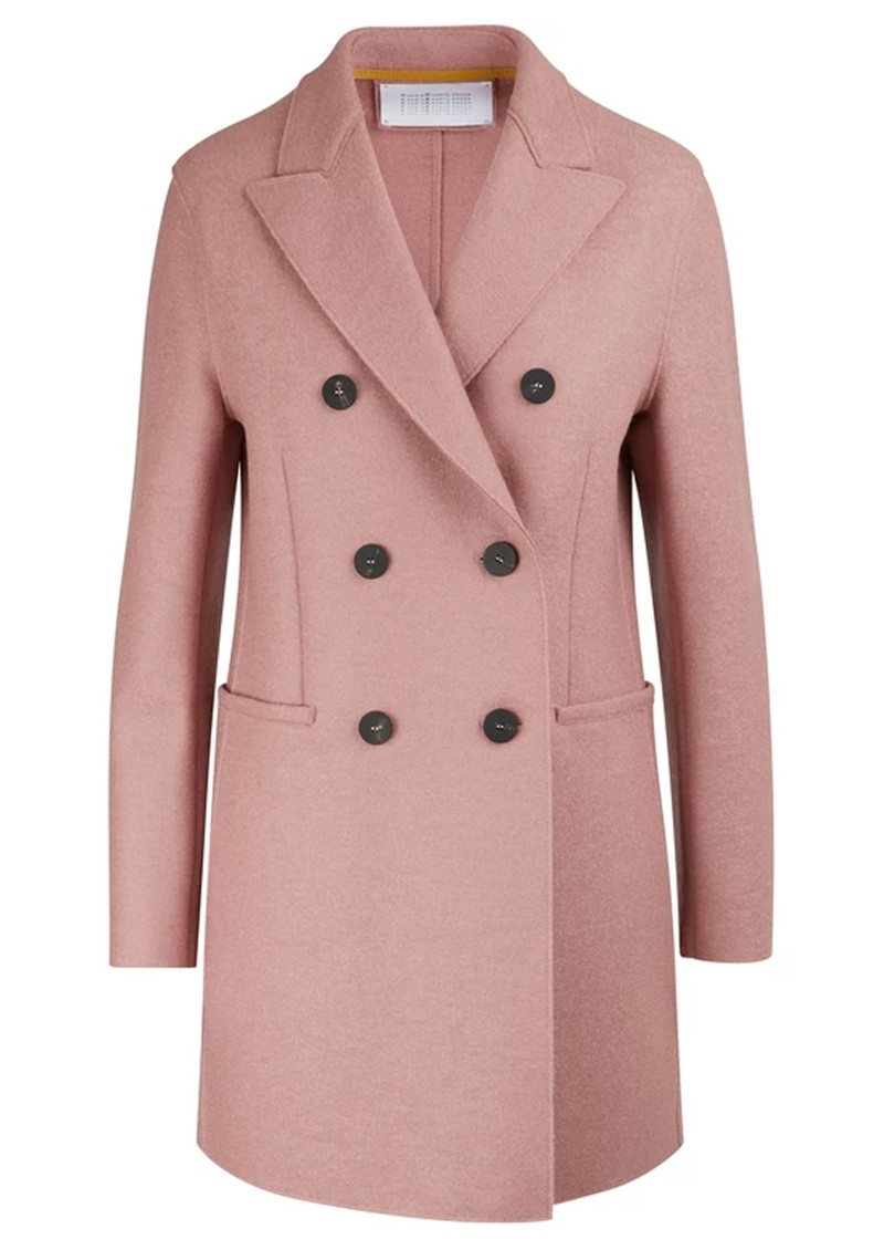 HARRIS WHARF Double Breasted Wool Coat - Old Rose main image