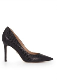 Sam Edelman Hazel Leather Heels - Black Croco