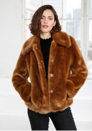 MAYLA Ruth Faux Fur Coat - Cognac
