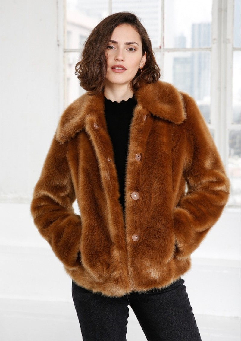 MAYLA Ruth Faux Fur Coat - Cognac main image
