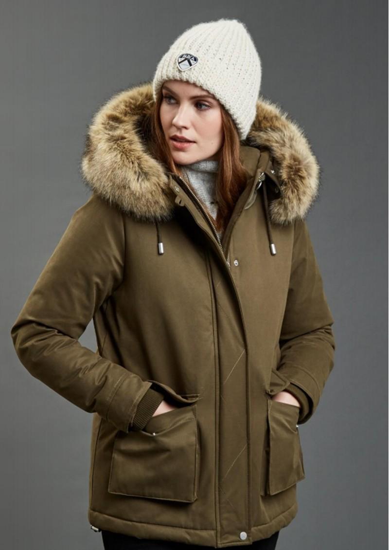 PARKA LONDON Sloane Faux Fur Hood Parka - Military Green main image