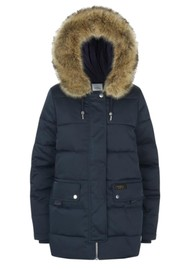 PARKA LONDON Nordic Padded Faux Fur Hood Parka - Navy