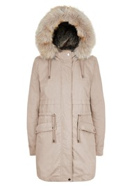 PARKA LONDON Caversham Faux Fur Lined Parka - Stone