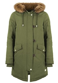 PARKA LONDON Stormont Faux Fur Hood Parka - Military Green