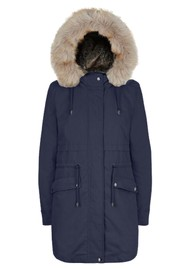 PARKA LONDON Caversham Faux Fur Lined Parka - Navy