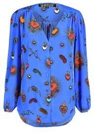 STARDUST Betty Heart Blouse - Blue