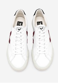 VEJA Espar Logo Leather Trainers - Extra White, Marsala & Black