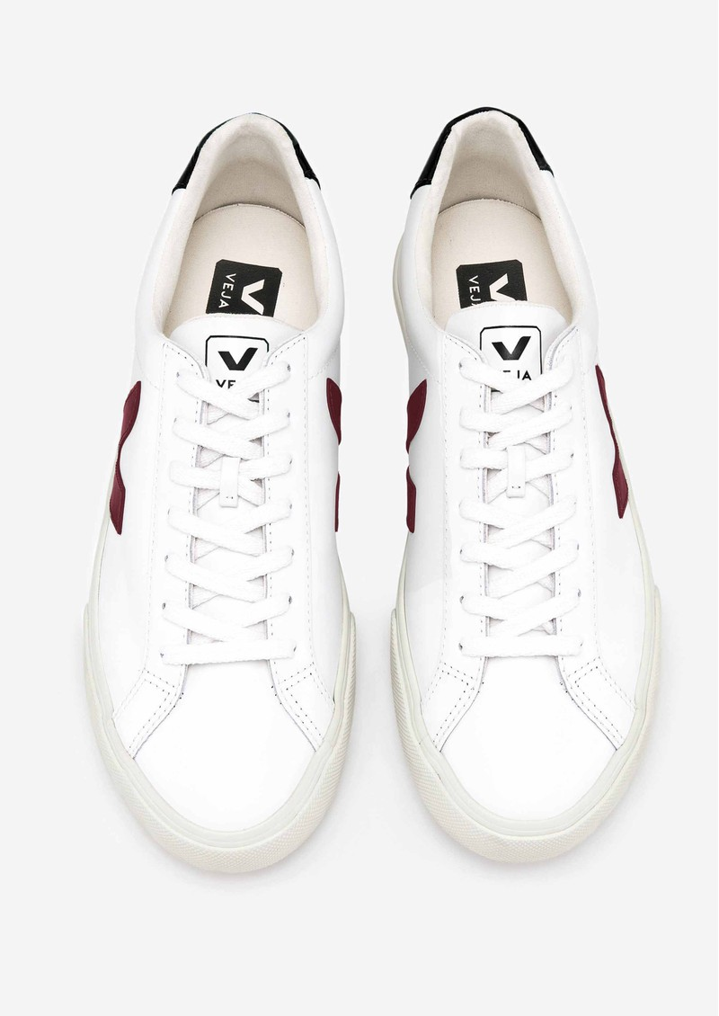 VEJA Esplar Logo Leather Trainers - Extra White, Marsala & Black main image