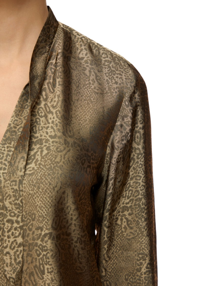 Mira Bow Tie Blouse - Leopard Jacquard main image