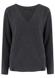 J Brand Gabbie V Neck Sweater - Anthracite Heather