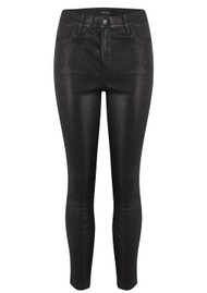 J Brand Alana High-Rise Cropped Super Skinny - Black Leather