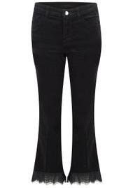 J Brand Selena Mid Rise Boot Cut Cropped Velvet Jeans - Black Lace
