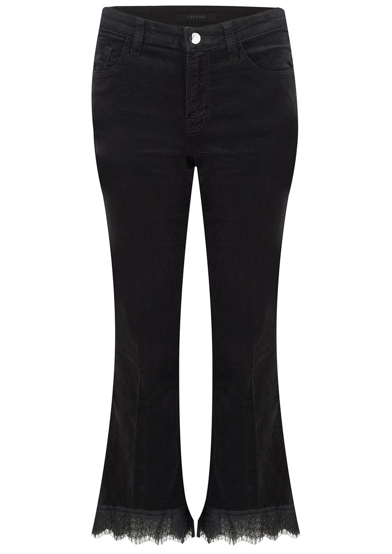 Selena Mid Rise Boot Cut Cropped Velvet Jeans - Black Lace main image