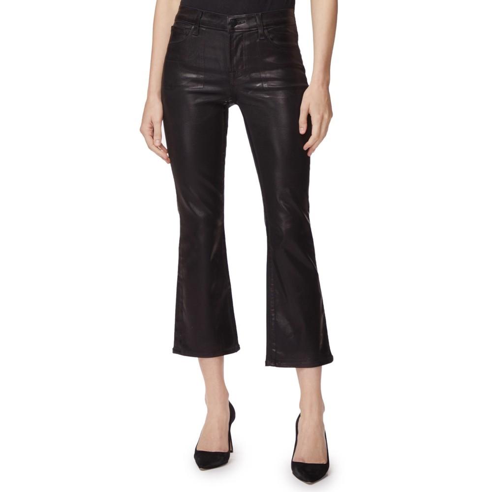 Selena Mid Rise Boot Cut Coated Jeans - Galactic Black