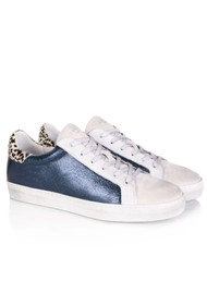 AIR & GRACE Cru Metallic Trainer - Navy & Dotty