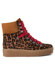 SHOE THE BEAR Pre Order Agda Leopard Lace Up Boots - Brown