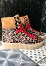 SHOE THE BEAR Agda Leopard Lace Up Boots - Brown