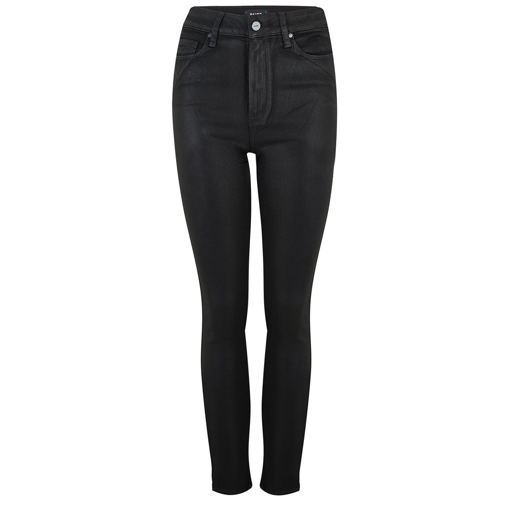 Margot Ankle Ultra High Rise Skinny Coated Jeans - Black Fog