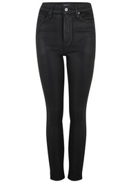 Paige Denim Margot Ankle Ultra High Rise Skinny Coated Jeans - Black Fog