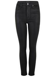 Paige Denim Margot Ankle Ultra High Rise Skinny Coated Jeans - Black Fog