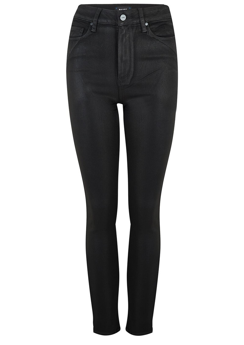 Paige Denim Margot Ankle Ultra High Rise Skinny Coated Jeans - Black Fog main image
