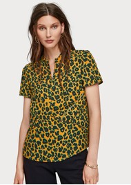 Maison Scotch Animal Print Zip-Up Top - Combo L